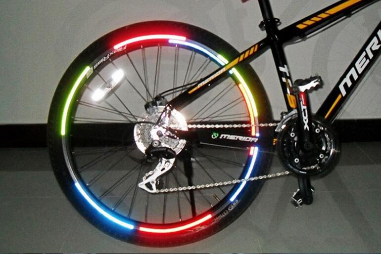 Bicycle Reflector Fluorescent MTB Bicycle Sticker Cycling Wheel Rim Reflective Stickers Decals