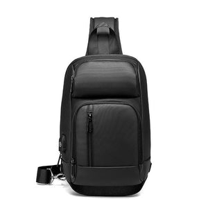 Black Chest Pack Men Casual Shoulder Crossbody Bag USB Charging Chest Bag Water Repellent Travel Messenger Bag Male N1820