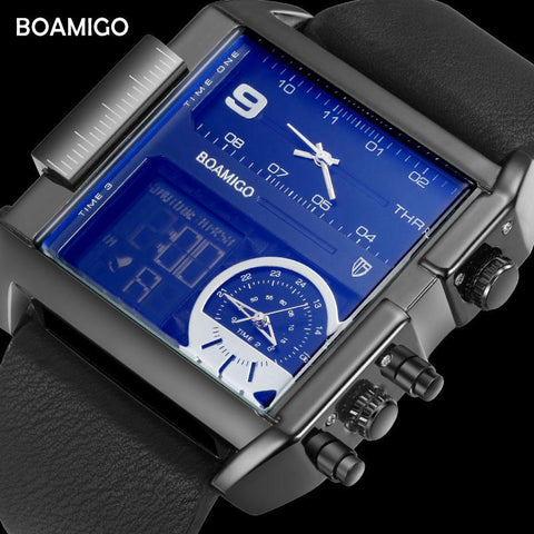 Image of BOAMIGO Brand Men Sports Watches 3 Time Zone Big Man Fashion Watch Leather Rectangle Quartz Wristwatches Relogio Masculino Clock