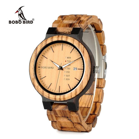 Image of BOBO BIRD Wood Watch Men Week Display Date Quartz Watches Wooden