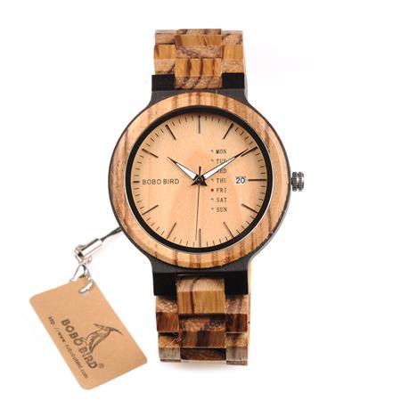 BOBO BIRD Wood Watch Men Week Display Date Quartz Watches Wooden