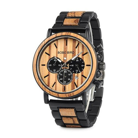 Image of BOBO BIRD Wooden Watch Men Erkek Kol Saati Luxury Stylish Wood Timepieces Chronograph Military Quartz Watches In Wood Gift Box