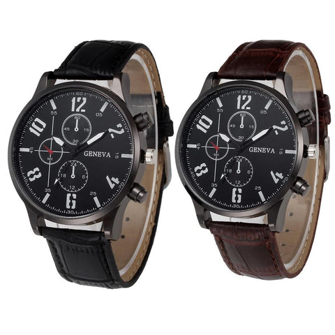Image of Business Classic Men Watches Leather Band Analog Quartz Wrist Watch Brand Luxury Sport Digital