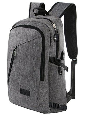 "Image of Business Laptop Backpack, Slim Anti Theft Computer Bag, Water-resistent College School Backpack, Eco-friendly Travel Shoulder Bag W/ USB Charging Port Fits UNDER 17"" Laptop & Notebook By Mancro (Grey)"
