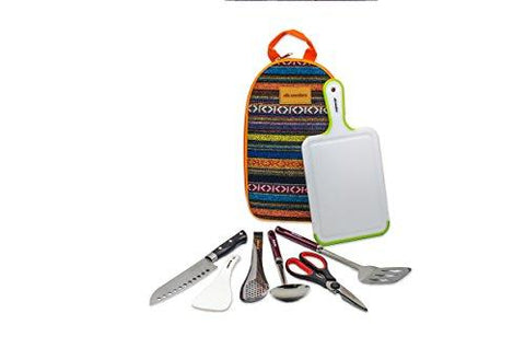 Image of Camp Kitchen Utensil Organizer Travel Set - Portable 8 Piece BBQ Camping Cookware Utensils Travel Kit With Water Resistant Case|Cutting Board|Rice Paddle|Tongs|Scissors|Knife And Bottle Opener