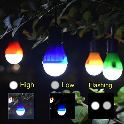 Image of Camping Light 4 Pack Portable LED Tent Lantern Bulb 3 Modes Battery Powered For Backpacking Camping Hiking Fishing Emergency And Outdoor Adventures
