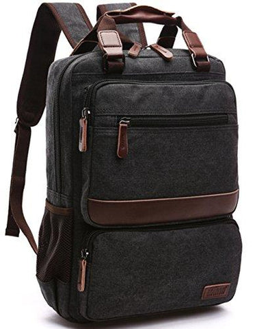 Canvas Backpack, Aidonger Canvas School Backpack Hiking Travel Rucksack Fits 14'' Laptop (Black-50)