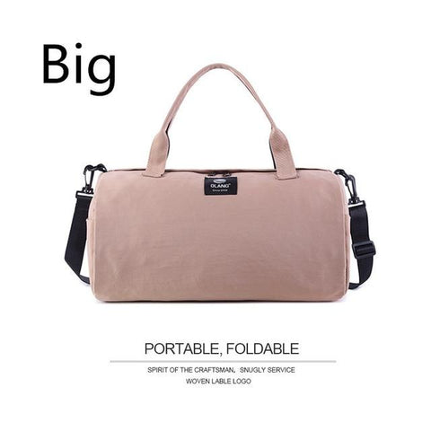 Image of Canvas Women's Travel Bags Yoga Gym Bag For Fitness Shoes Handbags Shoulder Crossbody Pouch Women Men Sac De Sport Pack