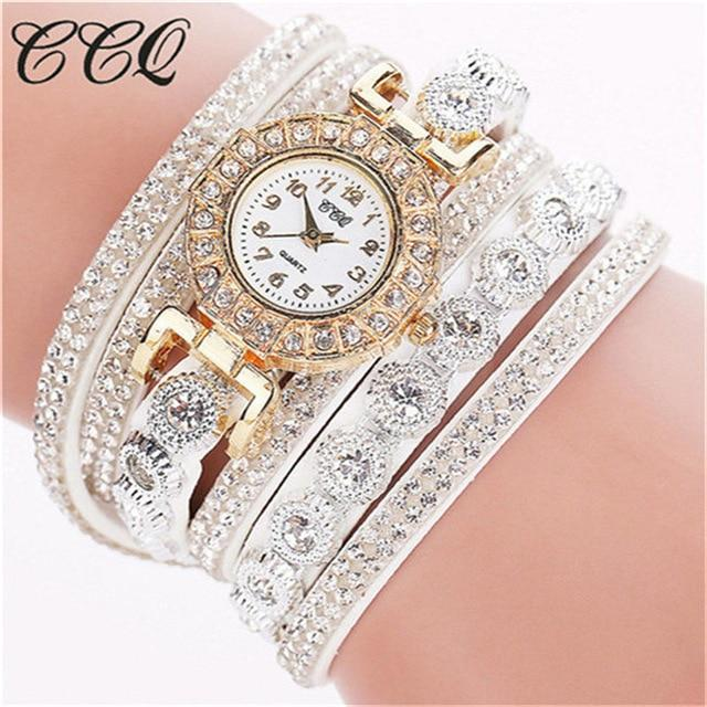 CCQ Women Bracelet Ladies Watch With Rhinestones Clock Womens Vintage Fashion Dress Wristwatch