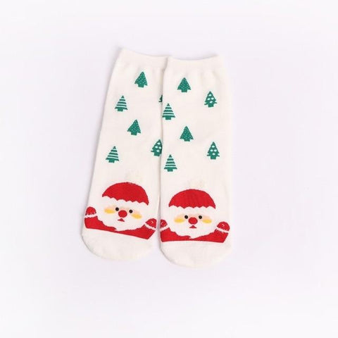 Image of Christmas Santa Claus Socks Women Cotton Short Elk Winter Socks Cartoon Deer Snow Man Cute Socks New Year Gift
