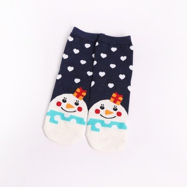 Christmas Santa Claus Socks Women Cotton Short Elk Winter Socks Cartoon Deer Snow Man Cute Socks New Year Gift