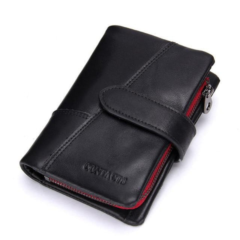 Image of CONTACT'S Genuine Crazy Horse Cowhide Leather Men Wallets Fashion Purse With Card Holder Vintage Long Wallet Clutch Wrist Bag