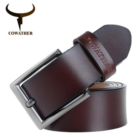 Image of COWATHER Men Belt Cow Genuine Leather Luxury Strap Male Belts For Men New Fashion Classic Vintage Pin Buckle