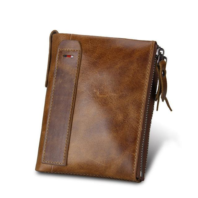Crazy Horse Genuine Leather Men Wallets Credit Business Card Holders Double Zipper Cowhide Leather Wallet Purse Carteira