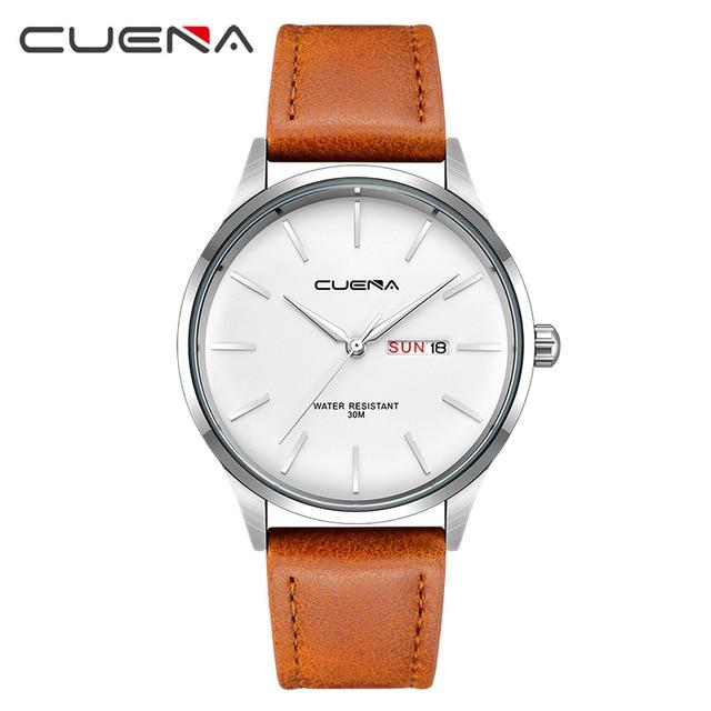 CUENA Fashion Quartz Watches Men Luxury Brand Waterproof Leather Strap Men's Wrist Watch Relogio Masculino Male Clocks Man