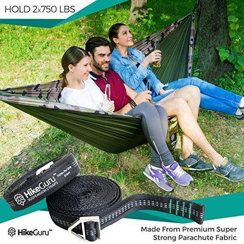 Image of Double Hammock With Tree Straps Plus Carabiners - Portable Lightweight Parachute Nylon Hammocks For Two People Or Single Person -Backpacking, Camping, Survival, Travel, Beach, Yard