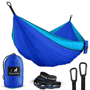 Double Portable Camping Hammock & Straps – Parachute Hammock Tree Straps Set With Max 1000 Lbs Breaking Capacity Included – FREE Lightweight Carabiners For Backpacking, Camping, Hiking, Travel, Beach,