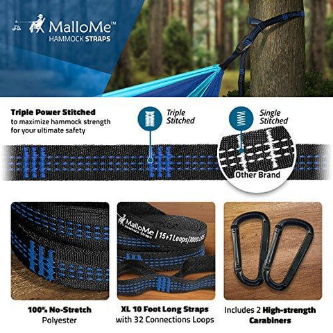 Image of Double Portable Camping Hammock & Straps – Parachute Hammock Tree Straps Set With Max 1000 Lbs Breaking Capacity Included – FREE Lightweight Carabiners For Backpacking, Camping, Hiking, Travel, Beach,