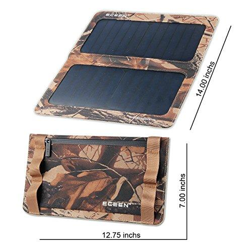 ECEEN 13W Solar Charger Foldable Portable Solar Panel With Dual USB Output Charge For Iphones, Smartphones, Tablets, GPS Units, Bluetooth Speakers, Gopro Cameras, And Other 5V USB-Charged Devices