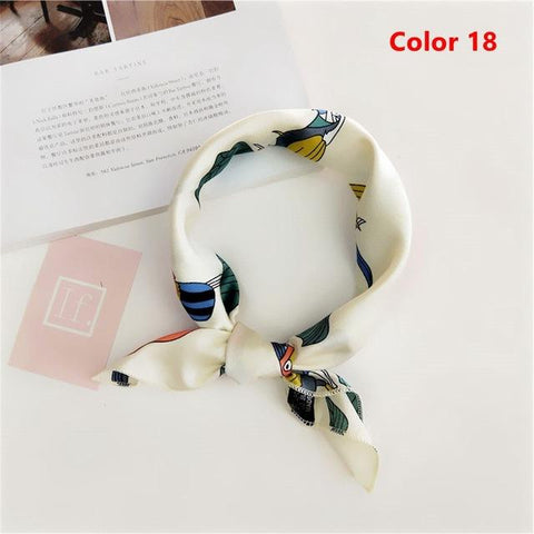 Image of Elegant Women Square Silk Head Neck Feel Satin Scarf Skinny Retro  Hair Tie Band Small Fashion Square Scarf