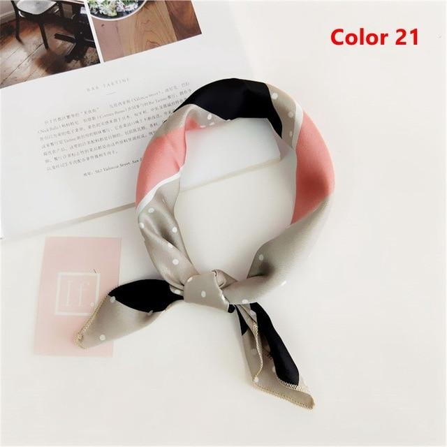Elegant Women Square Silk Head Neck Feel Satin Scarf Skinny Retro  Hair Tie Band Small Fashion Square Scarf