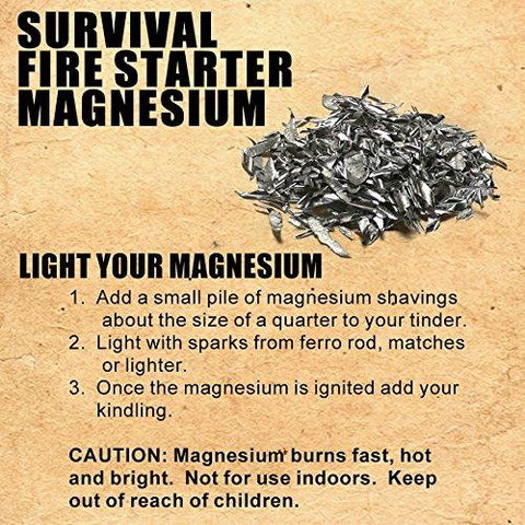 Image of Emergency Fire Starting Magnesium 6 Bags 99.9% Pure Camping Hiking Bushcraft