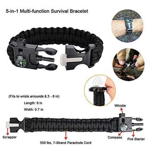 Image of Emergency Survival Kit 11 In 1, Outdoor Survival Gear Tool With Survival Bracelet, Folding Knife, Fire Starter, Whistle, Tactical Pen For Camping, Hiking, Climbing