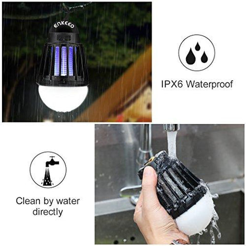 Enkeeo 2-in-1 Mosquito Killer Camping Lantern Tent Light - Portable IPX6 Waterproof Bug Zapper LED Lantern With 2000mAh Rechargeable Battery, Retractable Hook, Removable Lampshade, Black
