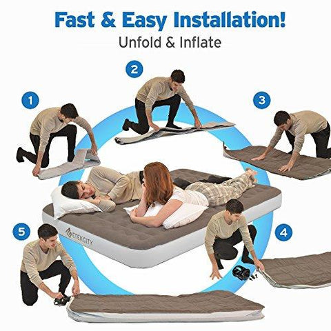"Image of Etekcity Camping Portable Air Mattress Inflatable Single High Airbed Blow Up Guest Bed Tent Mattress With Rechargeable Pump, Height 9"", Twin/Queen Size, 2 Free Lanterns"