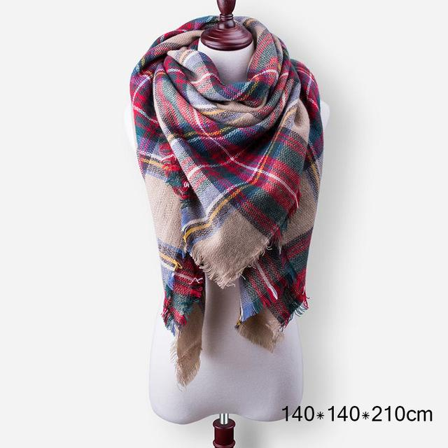 Evrfelan New Winter Scarf Fashion Women Scarf Luxury Plaid Cashmere Scarves Women Triangle 140*140*210