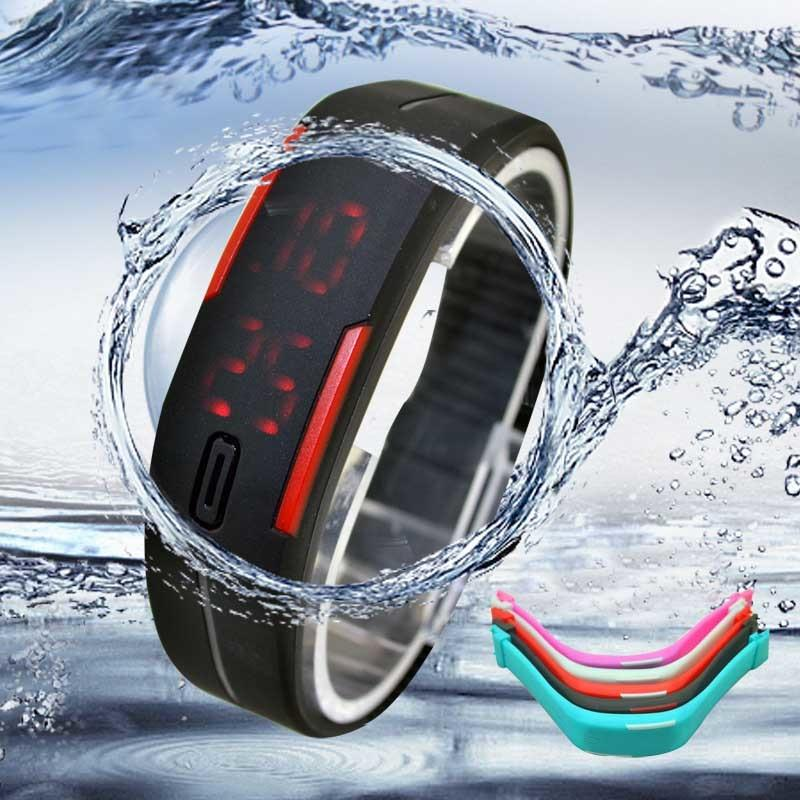 Fashion Creative Luxury LED Electronic Sport Watch Thin Men Girl Sports Silicone Digital LED Sports Bracelet Wrist Watch