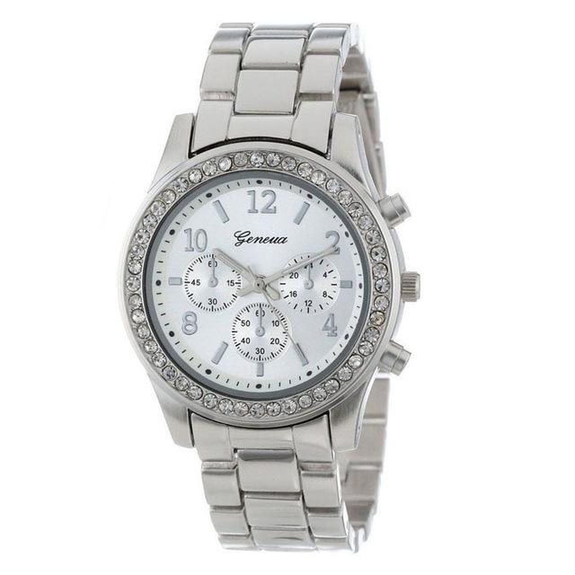 Fashion Faux Chronograph Plated Classic Geneva Quartz Ladies Watch Womens Crystals Wristwatch