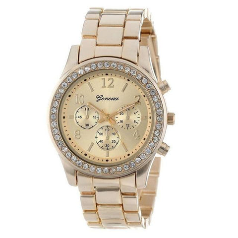 Image of Fashion Faux Chronograph Plated Classic Geneva Quartz Ladies Watch Womens Crystals Wristwatch
