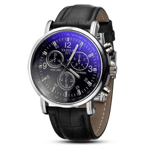 Image of Fashion Faux Leather Mens Analog Quarts Watches Blue Ray Men Wrist Watch Mens Watches Top Brand Luxury Casual Watch Clock