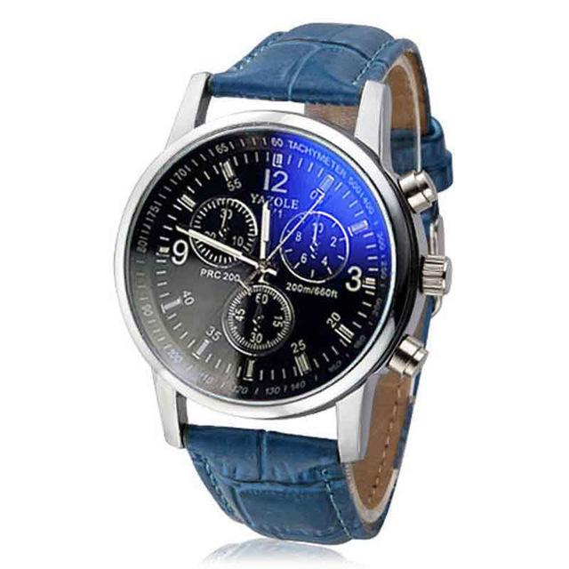 Fashion Faux Leather Mens Analog Quarts Watches Blue Ray Men Wrist Watch Mens Watches Top Brand Luxury Casual Watch Clock
