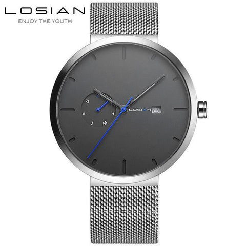 Image of Fashion Simple Men Watch Waterproof Blue Point Casual Quartz Watches Men With Date Week Wristwatch