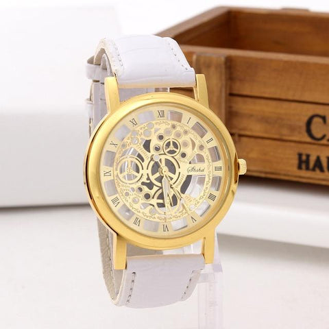 Image of Fashion Skeleton Watch Men Engraving Hollow Dress Quartz Wristwatch Leather Band Women