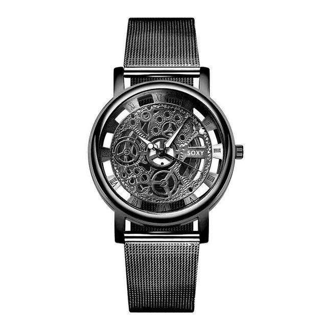 Fashion SOXY Watch Silver & Golden Luxury Hollow Steel Watches Men Women Unisex Hombre Quartz Wrist Watch Clock Retro Relogio
