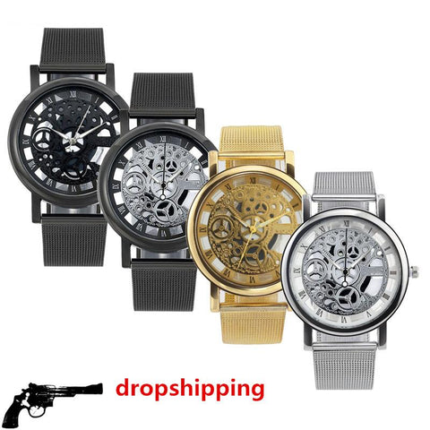 Image of Fashion Watch Men Skeleton Watch Men Stainless Steel Mesh Band Quartz Wristwatch Clock
