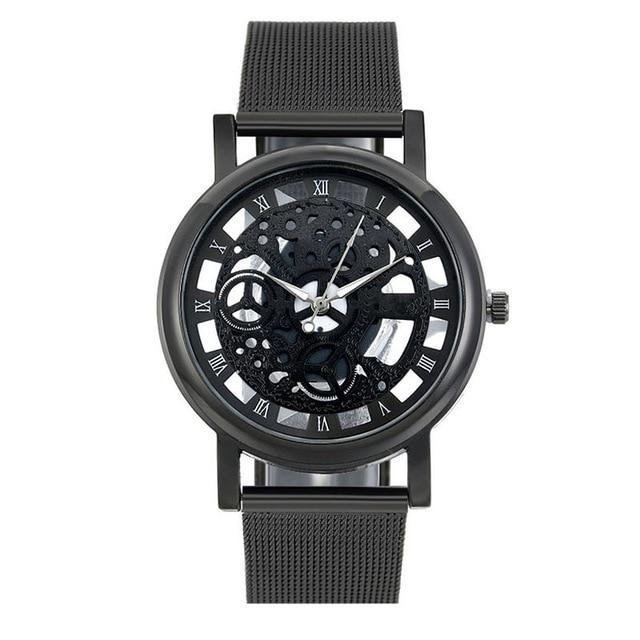 Fashion Watch Men Skeleton Watch Men Stainless Steel Mesh Band Quartz Wristwatch Clock