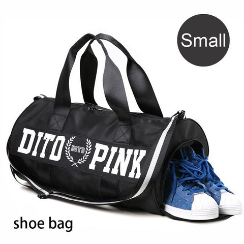 Image of Female Fitness Gym Bag Shoes Ladies Nylon Large Training Shoulder Yoga Duffel Pink Women Outdoor Travel Sac De Sport Bags