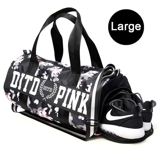 Female Fitness Gym Bag Shoes Ladies Nylon Large Training Shoulder Yoga Duffel Pink Women Outdoor Travel Sac De Sport Bags