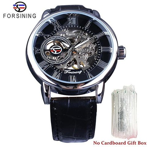 Image of Forsining 3d Logo Design Hollow Engraving Black Gold Case Leather Skeleton Mechanical Watches Men Luxury Brand Heren Horloge
