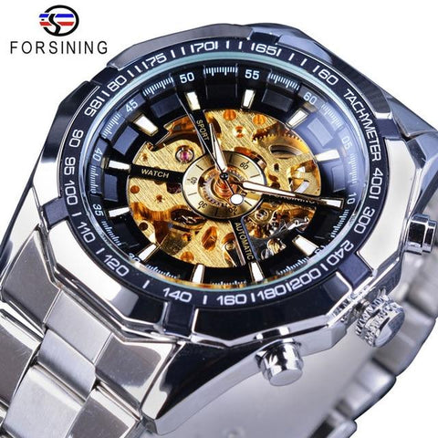 Image of Forsining Silver Stainless Steel Waterproof Mens Skeleton Watches Top Brand Luxury Transparent Mechanical Male Wrist Watch
