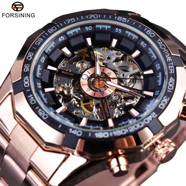 Forsining Silver Stainless Steel Waterproof Mens Skeleton Watches Top Brand Luxury Transparent Mechanical Male Wrist Watch