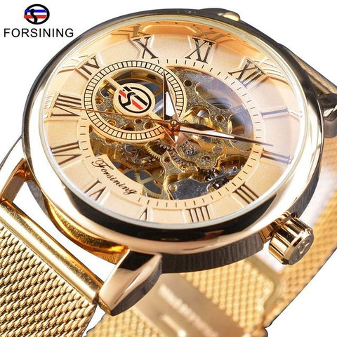 Image of Forsining Transparent Case Fashion 3D Logo Engraving Golden Stainless Steel Men Mechanical Watch Top Brand Luxury Skeleton
