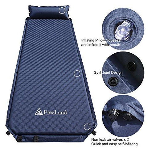FreeLand Camping Self Inflating Sleeping Pad With Attached Pillow Lightweight Air Sleeping Mattress - Dark Navy Blue Color