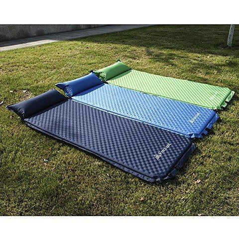 Image of Freeland Camping Sleeping Pad Self Inflating With Attached Pillow Lightweight Air Mattress