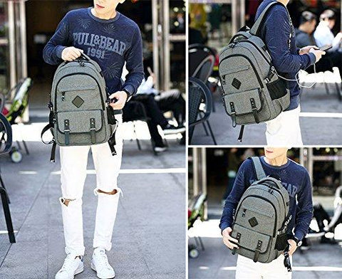 Image of Furivy Multifunctional Oxford Water-resistant College Student School Business Travel Laptop Shoulder Bag Backpack With USB Charging Port Gray