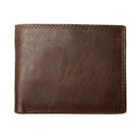 Image of GENODERN Cow Leather Men Wallets With Coin Pocket Vintage Male Purse Function Brown Genuine Leather Men Wallet With Card Holders